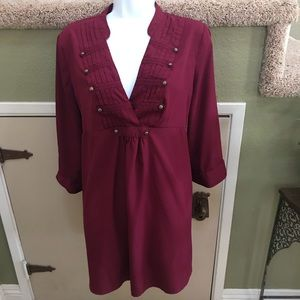 Maternity burgundy top with button embellishments